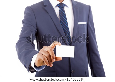 Businessman showing business card - closeup shot on white background - stock photo