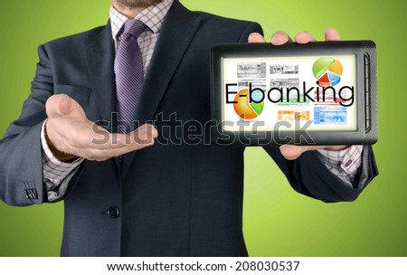 Businessman showing business concept on tablet - E-banking
