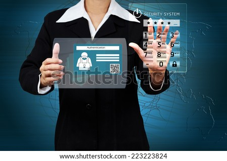 Businessman showing concept of online business security on virtual screen. - stock photo