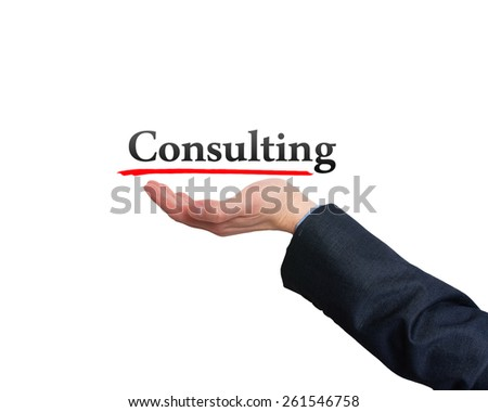 Businessman showing Consulting sign against white. Stock Photo - stock photo