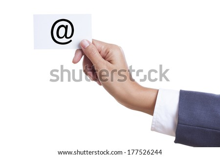Businessman showing contact sign on white background. - stock photo