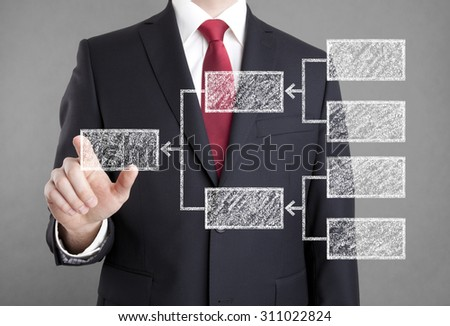 Businessman showing diagram drawn with chalk - stock photo