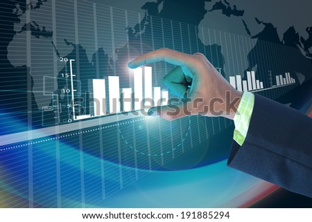 businessman showing digital graph - stock photo