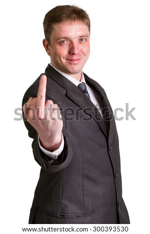 Businessman showing  gesture with white background - stock photo