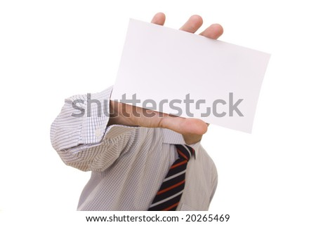 businessman showing his blank card (selective focus) - stock photo