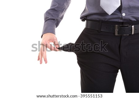 businessman showing his empty pocket