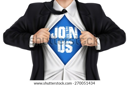 businessman showing Join us words underneath his shirt over white background - stock photo