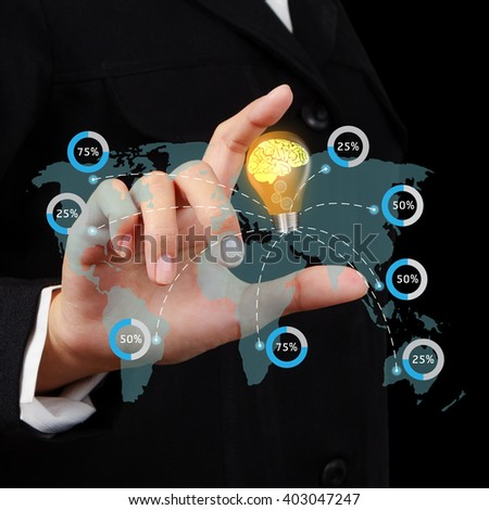 Businessman showing lamp and brain with innovative concept in hand on virtual screen.