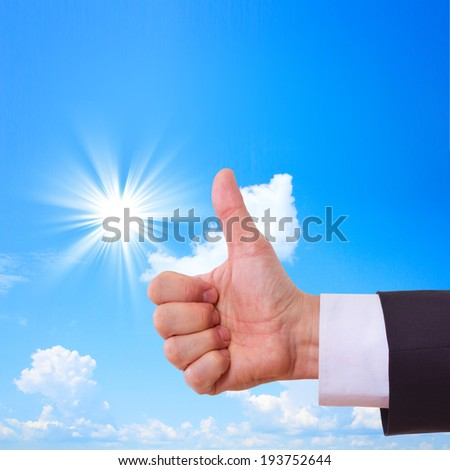 Businessman showing perfect gesture. Hand sign excellent, good, great, okay, yes. Sunny landscape, beautiful sky. Concept good deal. - stock photo
