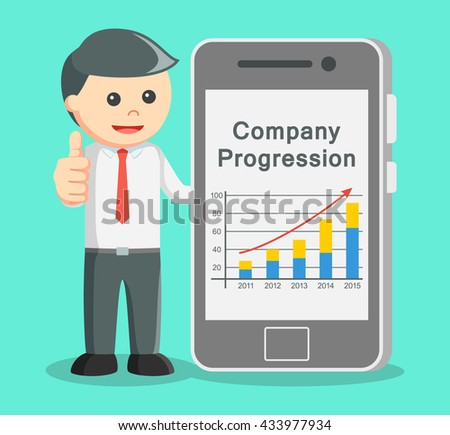businessman showing progress in smartphone and thumb up - stock photo