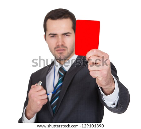 Businessman showing red card. Isolated on white - stock photo