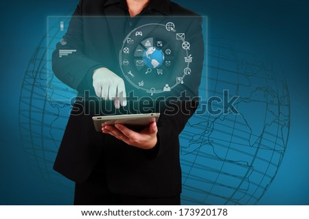 Businessman showing smartphone with globe and icon application on virtual screen. Concept of online business. - stock photo