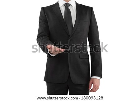 Businessman showing something on a white background
