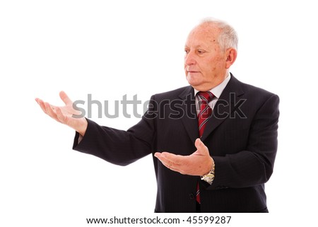 businessman showing something with his hands (isolated on white)