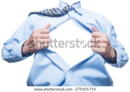 businessman showing space in his shirt isolated on white - stock photo