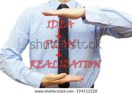 Businessman showing the way to finish plan ( idea,plan,realization) - stock photo