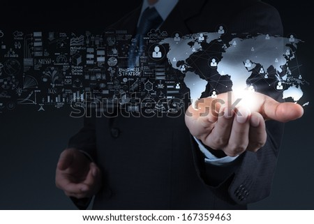 businessman showing the world 3d and  social network structure as concept