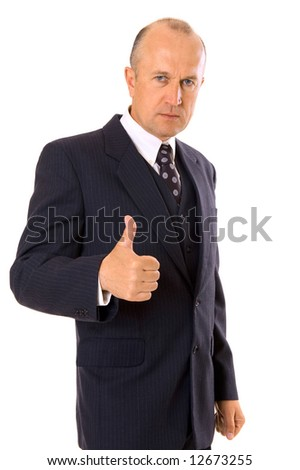 businessman showing thumbs up. isolated on white
