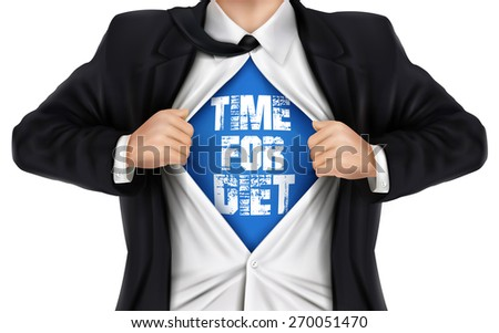 businessman showing Time for diet words underneath his shirt over white background - stock photo