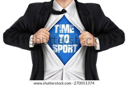 businessman showing Time to sport words underneath his shirt over white background - stock photo