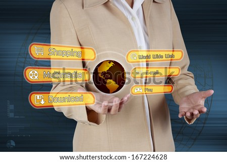 Businessman  Showing virtual screen links of Shopping, Multimedia, Email, Download, World Wide Web. Concept of business technology. - stock photo