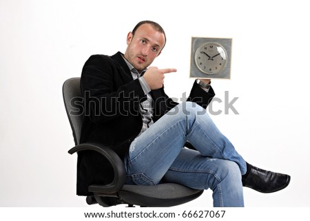 businessman showing watch