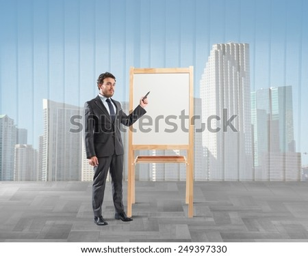Businessman shows and explains his working plan