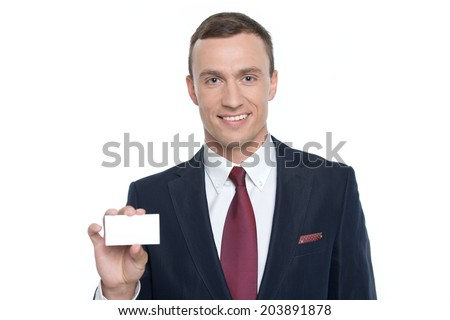 Businessman shows business card