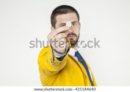 businessman shows one euro - stock photo