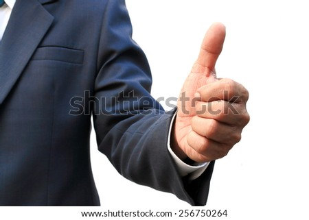 businessman shows thumbs up isolated on white