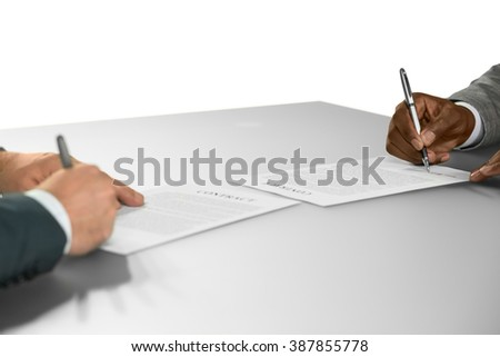 Businessman sign contracts. Chief and a new employee. Starting partnership. A new alliance. - stock photo