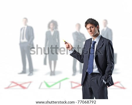 businessman sign standing businesspeople and 3d checkmark background - stock photo
