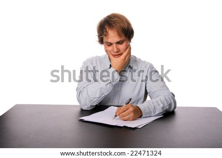 businessman signing contract over white background