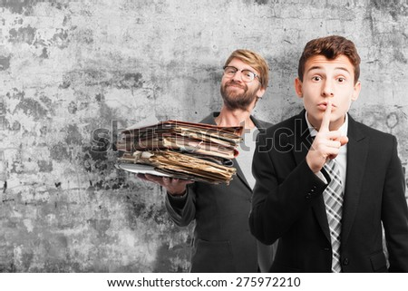 businessman silence gesture - stock photo