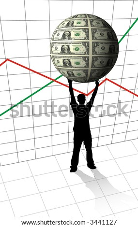 Businessman silhouette holding money sphere on arrow graph background - financial concept - stock photo
