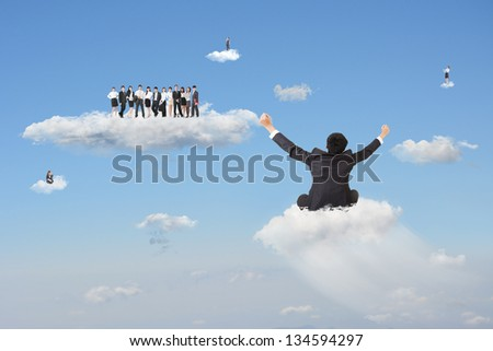 Businessman sit on cloud and going to join the team in cloudy sky. Concept about cloud business, team work, or positivity.