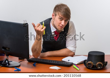 Businessman sitting at desk