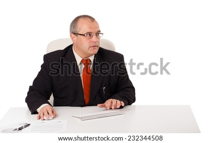 businessman sitting at desk and typing on keyboard with copy space, isolated on white