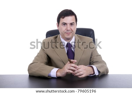 businessman sitting at desk smoking cigar, Isolated on white
