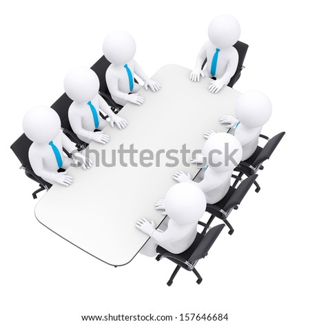 Businessman sitting at the table. Isolated render on a white background