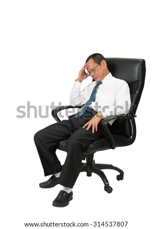 Businessman sitting in office chair   isolated on white background