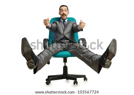 Businessman sitting in the chair on white - stock photo