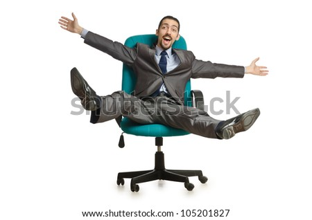 Businessman sitting in the chair on white