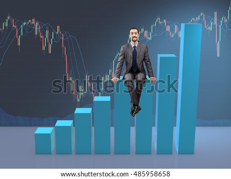 Businessman sitting on bar charts in business concept