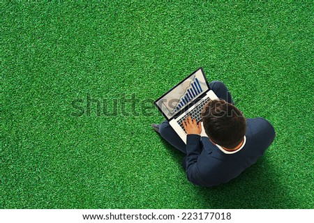 businessman sitting on the green meadow with laptop, typing and looking at growing diagram. view from above at outdoor - stock photo