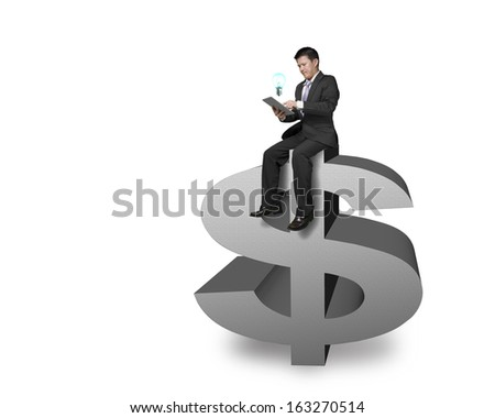 Businessman sitting on the top of money symbol with tablet and lighting bulb in white background