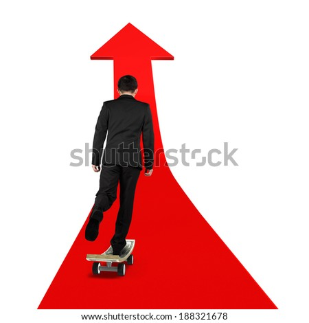 businessman skateboarding on red arrow isolated in white