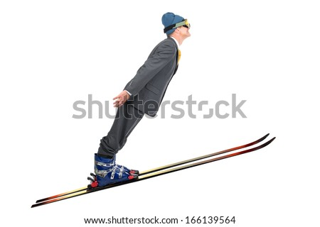 Businessman ski jumping isolated in white - stock photo