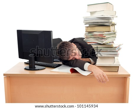 Businessman Sleeping on the Office Desk - stock photo