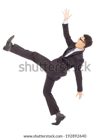 businessman slip and fall and  a funny pose - stock photo
